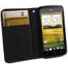 Leather Style Wallet Case for HTC One S - Black