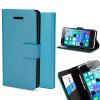 Custodia a libro Metalix per iPhone 5C - Celeste