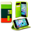 iPhone 5C Leather Style Stripe Wallet Stand Case - Green / Orange