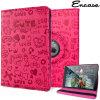 Encase Rotating Doodle Kunstleder iPad Air 2 Hülle in Hot Pink