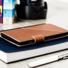 Mozo Microsoft Lumia 950 XL Genuine Leather Thin Flip Tasche in Cognac