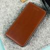 Moncabas Classic Genuine Leather iPhone SE Wallet Case - Brown