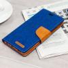 Mercury Canvas Diary Huawei P9 Wallet Case - Blue / Camel