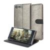 Hansmare Calf Sony XZ Premium Wallet Case Hülle in Goldenes Schwarzes