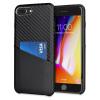Olixar iPhone 8 Plus/7 Plus Carbon-Faser-Karten-Beutel-Hülle - Schwarz