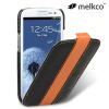 Melkco Leather Flip Case for Samsung Galaxy S3 - Orange / Black