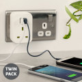 Energenie Universal 3.1A Dual USB Mains Charger Twin Pack - White