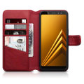 Encase Samsung Galaxy A8 2018 Genuine Leather Wallet Case - Red
