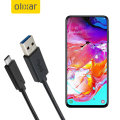 Olixar USB-C Samsung Galaxy A70 Charging Cable - Black 1m