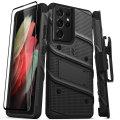 Zizo Bolt Samsung S21 Ultra Tough Case & Screen Protector- Black