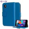 Adarga Leather Style Wallet Stand Case For Google Nexus 5 - Blue