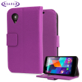Adarga Leather Style Wallet Stand Case For Google Nexus 5 - Purple
