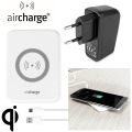 aircharge Slimline Qi Wireless Charging Pad and EU Plug - White