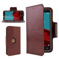 Encase Leather-Style Vodafone Smart Prime 6 Wallet Case - Brown