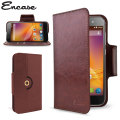 Encase Rotating Leather-Style ZTE Blade D6 Wallet Case - Brown