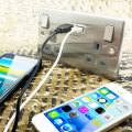 enCharge UK Power Socket USB Charging Wall Plate - Steel / Grey