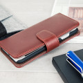 Genuine Leather iPhone 7 Wallet Case - Brown