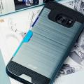Olixar Brushed Metal Card Slot Samsung Galaxy S7 Edge Case - Navy Blue