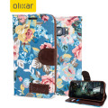 Olixar Floral Fabric Samsung Galaxy S6 Wallet Case - Blue