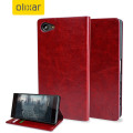 Olixar Leather-Style Sony Xperia Z5 Compact Wallet Stand Case - Red