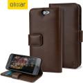 Olixar Premium HTC One A9 Genuine Leather Wallet Case - Brown