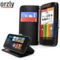 Orzly Multi-Function Wallet Case for Moto G - Carbon Fibre