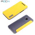 Rock Elegant Side Flip Case For HTC One 2013 - Lemon Yellow