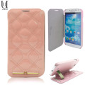 Uunique Quilted Leather Folio Case for Samsung Galaxy S4 - Pink