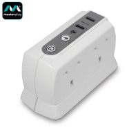 Masterplug Surge Protected 4 Plug Power Block with Dual USB 1M - White