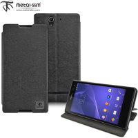 Metal-Slim Sony Xperia C3 Leather-Style Case with Stand - Black