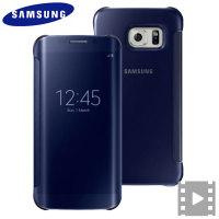 Officiële Samsung Galaxy S6 Edge Clear View Cover - Blauw