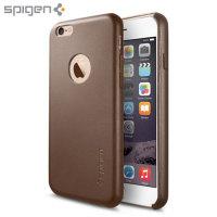 Spigen Leather Fit iPhone 6S / 6 Shell skal - Olivbrun