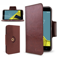 Housse Vodafone Smart Ultra 6 Encase Portefeuille Style cuir – Marron