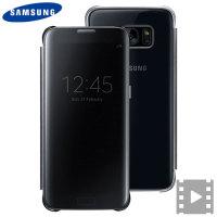 Original Samsung Galaxy S7 Edge Clear View Cover Tasche in Schwarz
