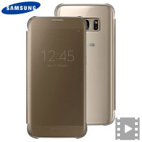 Cover originale Clear View Samsung per Galaxy S7 - Oro