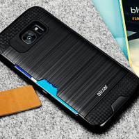 Olixar Brushed Metal Card Slot Samsung Galaxy S7 Edge Case - Black