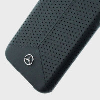 Mercedes-Benz Real Leather Samsung Galaxy S7 Perforated Skal  - Svart