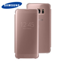 Original Samsung Galaxy S7 Edge Clear View Cover Tasche in Rosa Gold