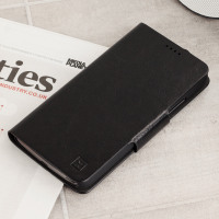 Olixar Leather-Style Moto G5 Plus Wallet Stand Case - Black