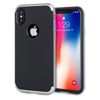 Olixar XDuo iPhone X Case - Carbon Fibre Silver