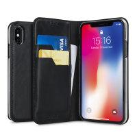 Olixar Genuine Leather iPhone X Executive Wallet Case - Black