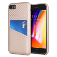 Coque iPhone 8 / 7 Olixar effet carbone avec range carte – Or rose