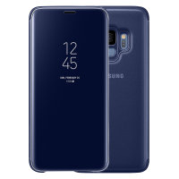 Official Samsung Galaxy S9 Clear View Stand Cover Skal - Blå