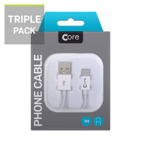 Core USB Type-C Charge and Sync Cable 1m - 3 Pack