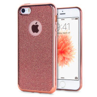 Rose Gold iPhone 5S Glitter Case - Olixar Hyper Protective Gel Design
