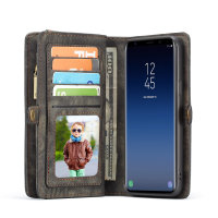 Luxury Samsung Galaxy S9 Leather-Style 3-in-1 Wallet Case - Black