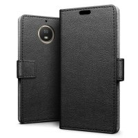 Motorola Moto G5S Leather-Style Wallet Case - Black