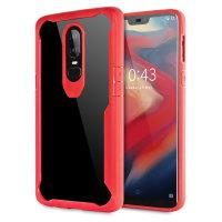 Encase OnePlus 6 Flexible Bumper Case - Red / Clear