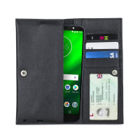 Olixar Primo Genuine Leather Motorola Moto G6 Plus Wallet Case - Black