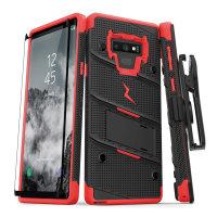 Zizo Bolt Samsung  Note 9 Tough Case & Screen Protector - Black / Red